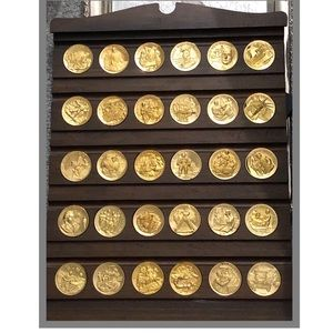 Longines Wittnauer Medals 24k plated on bronze Set